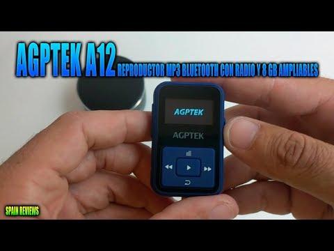 AGPTEK A12 Reproductor mp3 bluetooth con radio y 8 GB ampliables