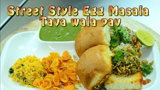 Egg and Indian Bread - Anda Pav - Street Style Egg Masala Tava pav