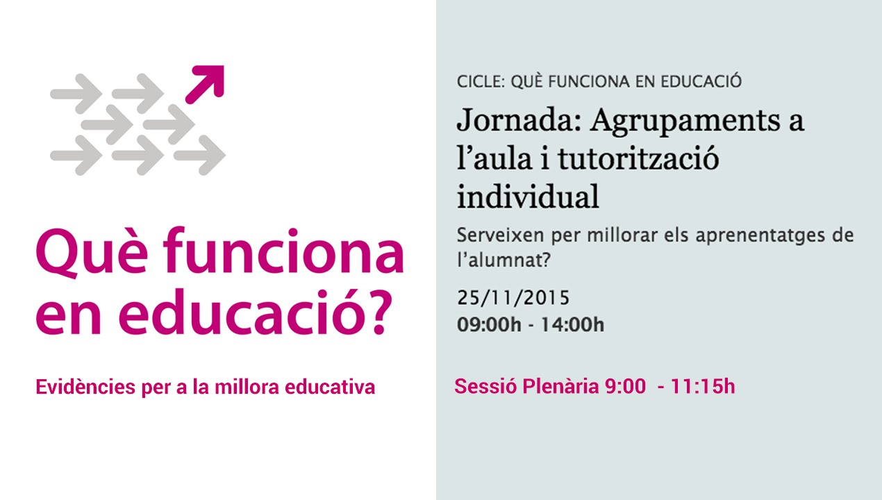 Sessió plenària: Agrupaments a l'aula i tutorització individual (retransmissió en directe)