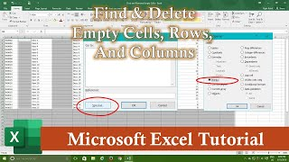 Find and Remove Empty Cells, Rows and Columns | Microsoft Excel 2016 Tutorial