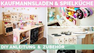 Kaufmannsladen & Spielküche selber bauen - DIY - Kaufladen mit Zubehör - Kindermöbel aus Holz