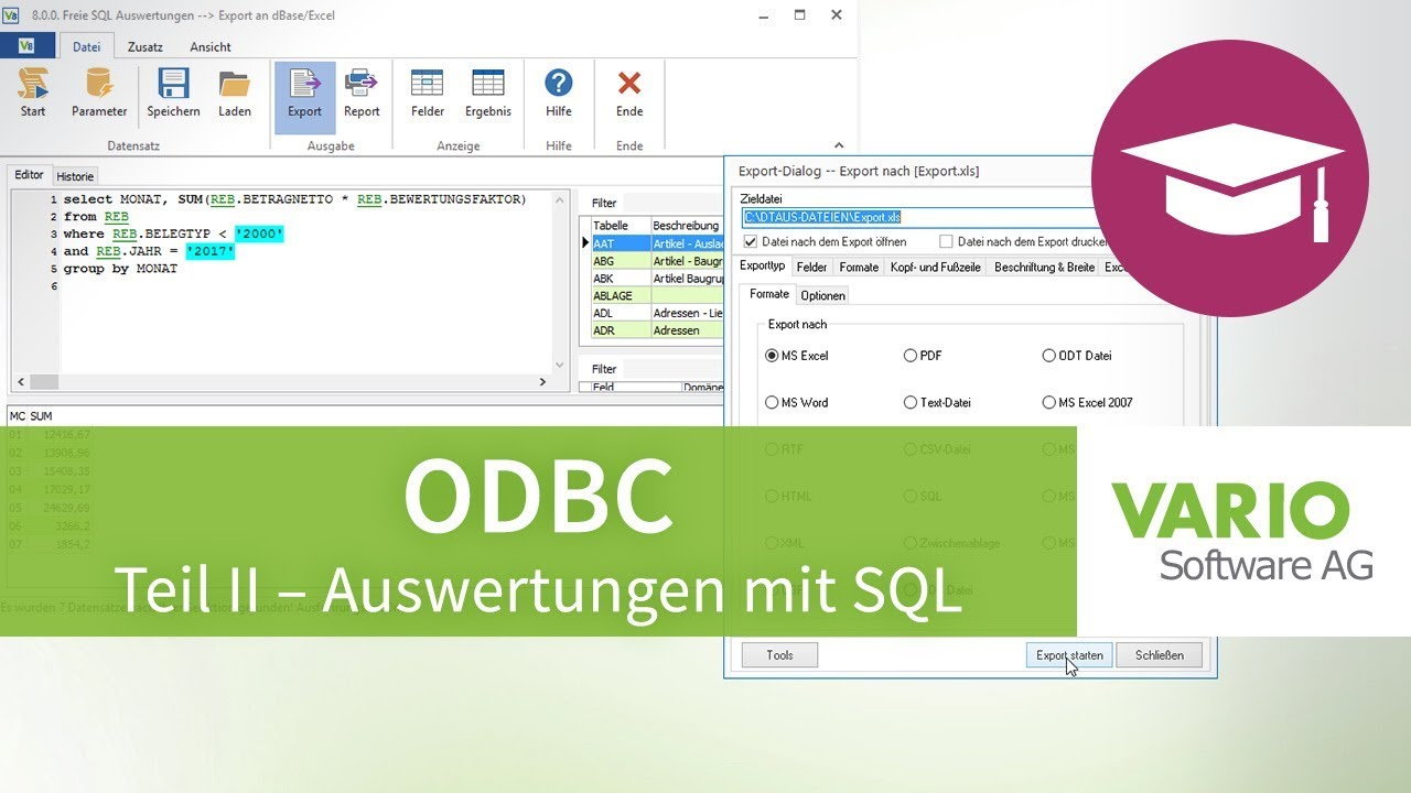 ODBC – Datenbankzugriff und Auswertungen mit SQL in Excel