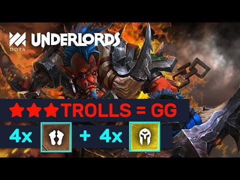 ★★★ DEADLY TROLLS! Knockout: 4 Troll 4 Knights OP Knockout Build! | Dota Underlords