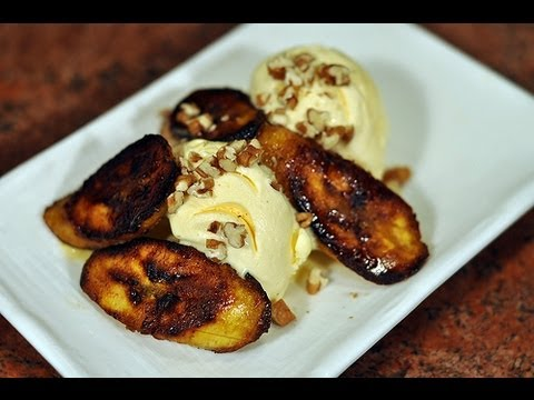Recipe for Sweet fried plantains with ice cream