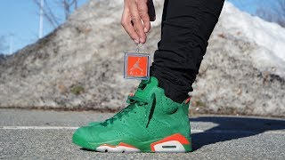 "AIR JORDAN 6 ""GREEN GATORADE"" REVIEW & ON FEET!"