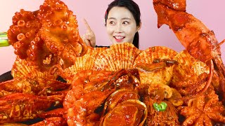 MUKBANG ASMR   Spicy🔥 Seafood(Crab, Scallop, Abalone, Octopus, Shrimp, Squid, Enoki Mushroom) 아라 Ara