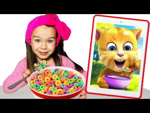 София кушают и играют с смешным котом
