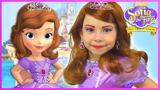 Sofia The First Kids Makeup Disney Princess Pretend Play with Toy & DRESS UP in Real Princess Dress - Video Youtube