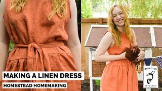 Making A Linen Dress   Sew With Me   Homestead Homemaking   Maria Paula Open Back Dress Pattern