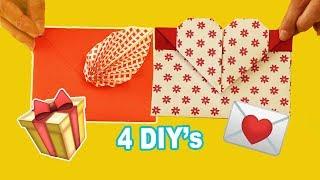 4 DIY Ideias Criativas De ENVELOPES 💌💌💌 Envelope De Origami