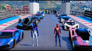 Two Spiderman two super Cars and Superheroes GTA V MODS ! Два Человека Паука испытание Супер Героев!