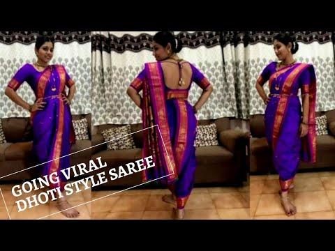 Best #Dhoti style #Maharashtrian Saree style #Nauvari saree style with regular 6 yards saree draping