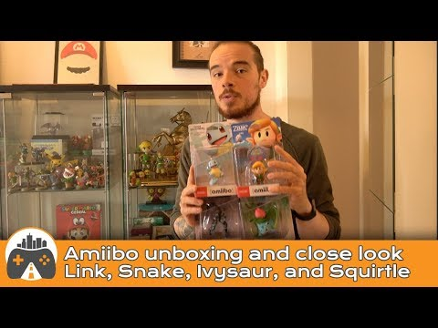 [Amiibo] Link, Snake, Ivysaur, and Squirtle - Unboxing and close look