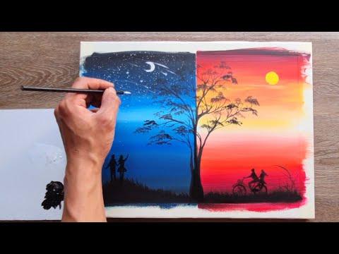 Vẽ Tranh Phong Cảnh   Day and Night   Acrylic painting