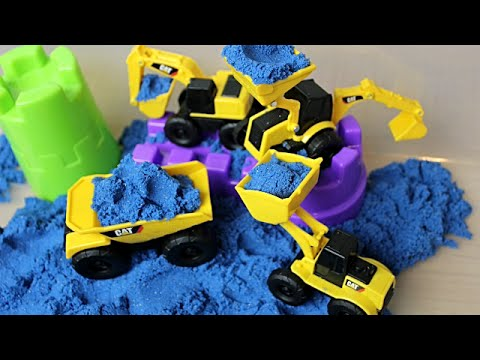 Kinetic Sand CAT Diggers: Blue Sparkle Sand & Construction Vehicles & Windmill
