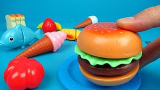 Toy Hamburger Set Unboxing and Playing | Toy Kitchen for kids