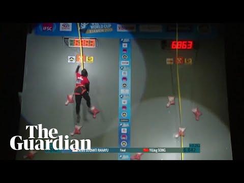 Speed climber Aries Susanti Rahayu breaks world record