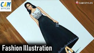 Black And White Dress / Trends Fashion / Fashion Design / Fashion Illustration Drawing