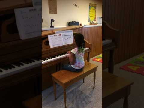 Student starting beginning piano.