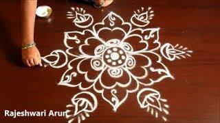 Friday Kolam Design Without Dots * Simple Deepam Rangoli Without Dots * Easy Muggulu Design