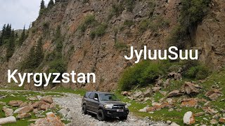 preview picture of video 'Drone video. Toyota Sequoia 4x4 Tour in Kyrgyzstan JyluuSuu valley'