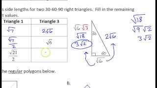 Day 14 HW - 14 To 16 - Special Right Triangles And Pythagorean Triples