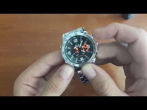 Обзор и Настройка. Мужские часы Weide 1009 Led Steel подсветкой