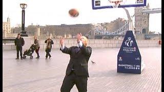 Boris Johnson shoots overhead basketball shot