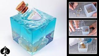 Message in a Bottle Epoxy Resin Paperweight Cube with Ocean Sea Foam Effect   DIY