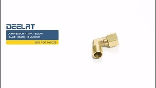 """Compression Fitting – Elbow – Male – Brass – 10 mm x 3/8"""" SKU #D1146035"""