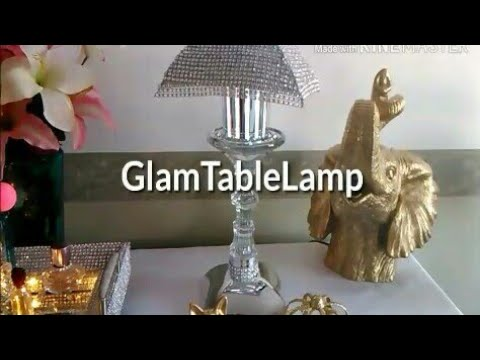 DIY Glam Table/Vanity Lamp/Shabby Chic/Dollar Tree