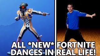 ALL *NEW* FORTNITE DANCES IN REAL LIFE! (Criss Cross, Crazy feet & more!)