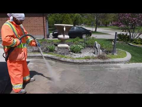 Removing sealer buildup from stamped concrete driveway