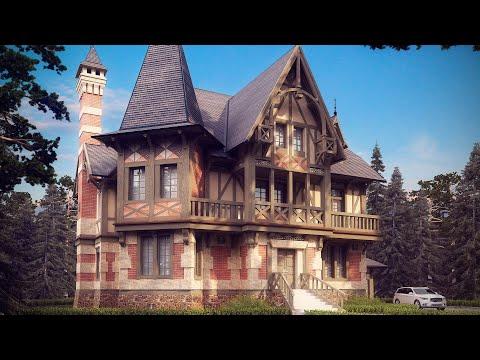 Проект дома в готическом стиле с мансардой
