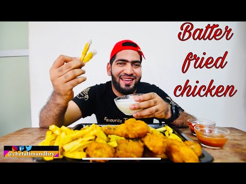 How to make batter fried chicken with sweet potato fries | Chef Ali Mandhry | Recipe | Mukbang