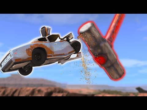 SLAMMING Cars Off A CLIFF With A GIANT SLEDGEHAMMER! - BeamNG Drive Car Golfing