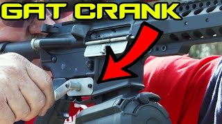 Turning your AR-15 into a mini Gatling Gun! (GAT CRANK) | Super SlowMo 4K