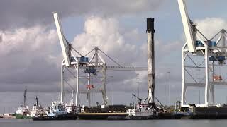 SpaceX Booster Being Positioned At The Dock On OCISLY