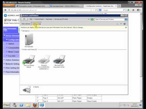 Install of Konica PCL Bizhub Driver for Windows