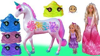Barbie Rainbow Light Up Unicorn + Cutie Tooties Surprise Blind Bags Video