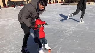 18 Months Old Toddler ice skating experience 2