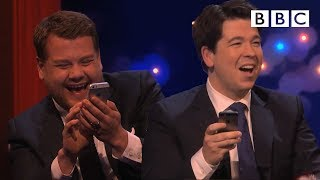 James Corden challenges Michael to play Send to All | The Michael McIntyre Chat Show - BBC