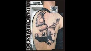 Double Exposure Eagle Tattoo Cover
