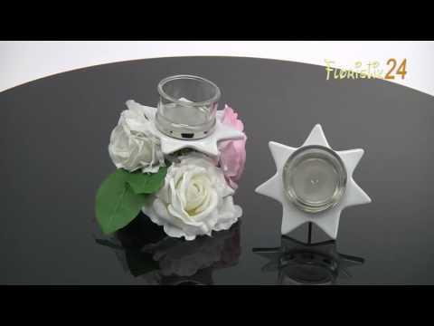 Floristik24 Teelichthalter Weiß Sternform mit Glas Ø10cm H10,5cm 2St
