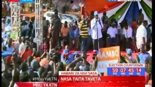 NASA deputy flag bearer Kalonzo Musyoka leads an energized crowd in Taita Taveta in NASA chants