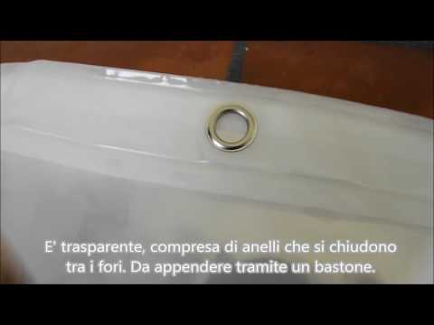 Tenda da doccia trasparente 180 x 180 cm con 12 anelli Tatkraft