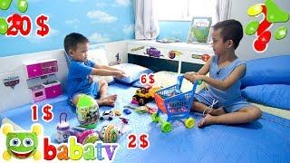 Bé Đức và Su Hào TẬP BÁN HÀNG SIÊU THỊ ♥ Đồ Chơi Trẻ Em ♥ BaBaTV