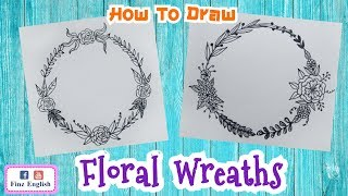 How To Draw Flower Wreaths/ Floral Wreaths Doodles / Easy Drawing / Bullet Journal Elements
