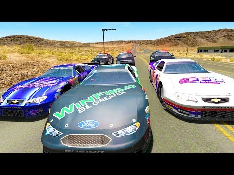 HIGH SPEED POLICE CHASES VS ILLEGAL NASCAR ROAD RACE - BeamNG Drive Crash Test Compilation Gameplay