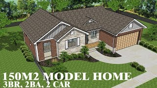 House Plan 150m2 With 3 Bedrooms, 2 Baths, 2 Car Garage | Home Design Ideas